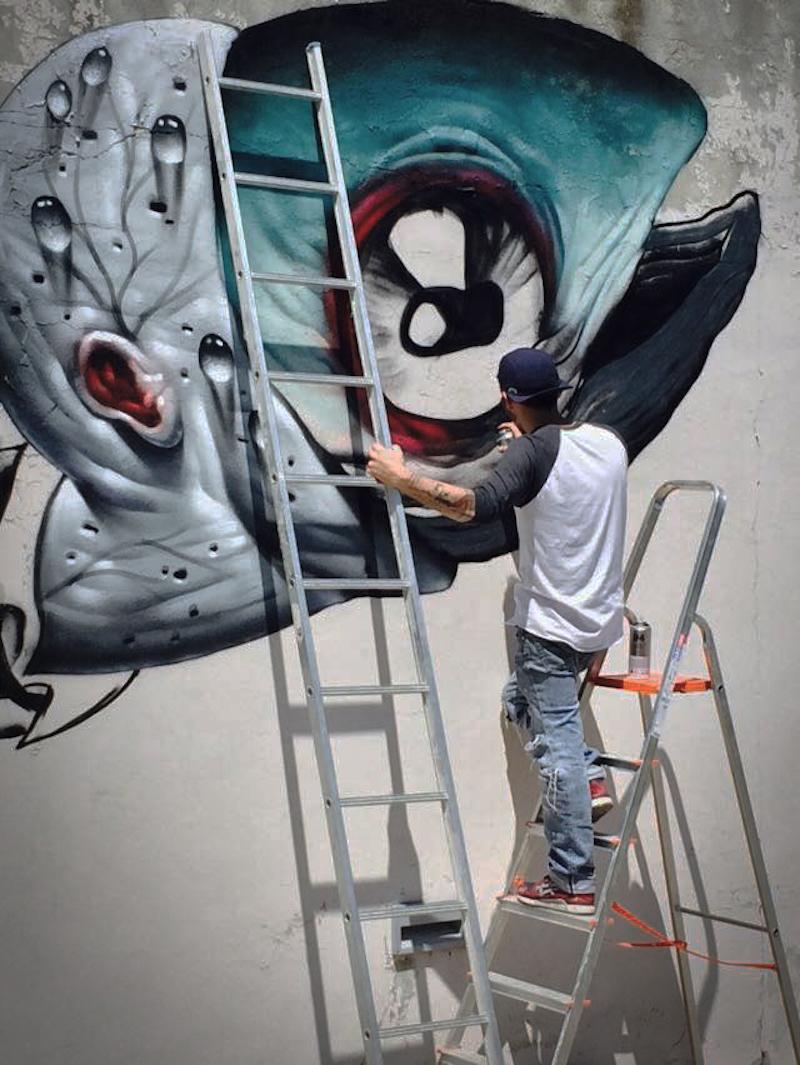 Veks van Hillik Mural in Italy Close Up