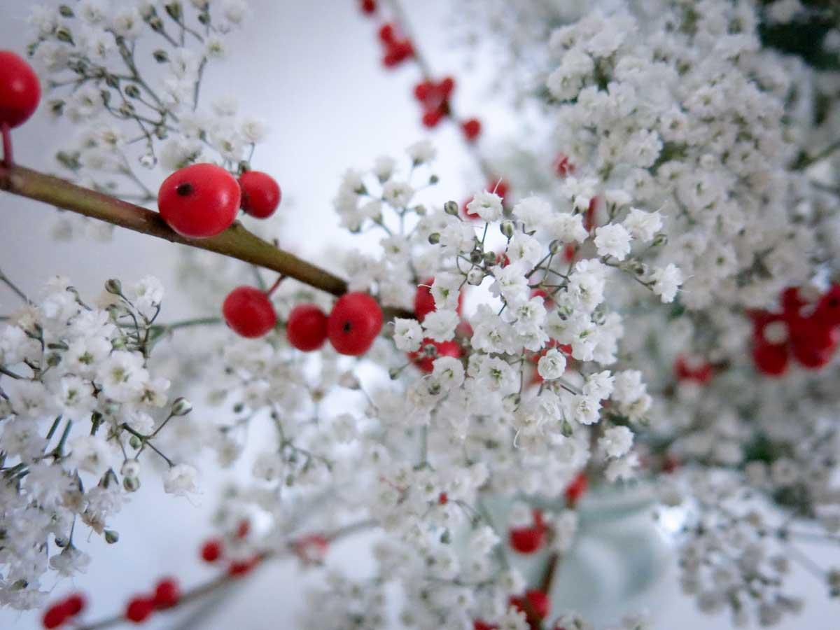 Weihnachtlich inspirierter Winter Blumenstrauß