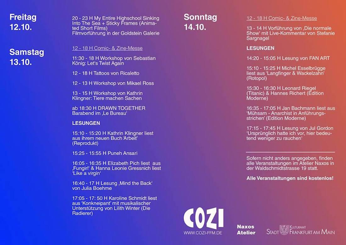 COZI Comic und Zinefest Frankfurt 2018 Programm